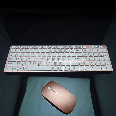 SINCERE  Optische drahtlose Maus Tastatur Schokolade Tastatur Multimedia-Funktionen Matte Oberfl che Tastatur und Maus Anzug f r eine Vielzahl von Notebook-Computer  Desktop  etc  farbe Rose gold