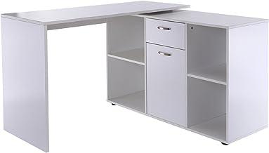 HomCom Escritorio Mesa de Ordenador Mesa Esquinera Oficina 2 Formas con 4 Estantes 1 Cajón 1 Puerta Mesa de Despacho Escuela Estudio Madera
