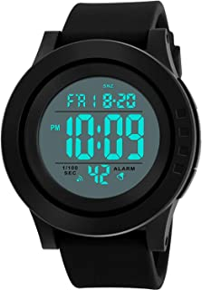 Men's Digital Sports Wrist Watch LED Screen Large Face Electronics Military Watches Waterproof Alarm Stopwatch Back Light Outdoor Casual Watch - Black