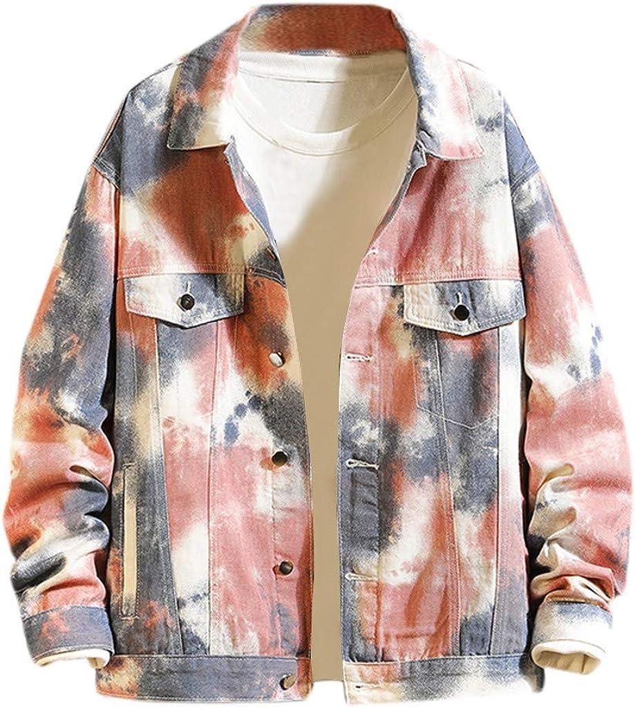 VEZAD Store Men Tie Dyed Denim Jacket Hooded Long-Sleeved Shirt Coat Casual Autumn&Winter Sweatshirt Outwear