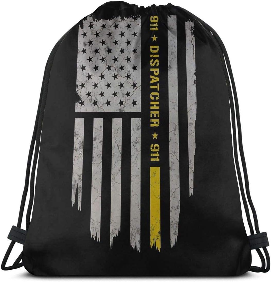 911 Dispatcher Discount mail order Gold Flag Drawstring Backpack Cinch Bag Gym NEW Sack