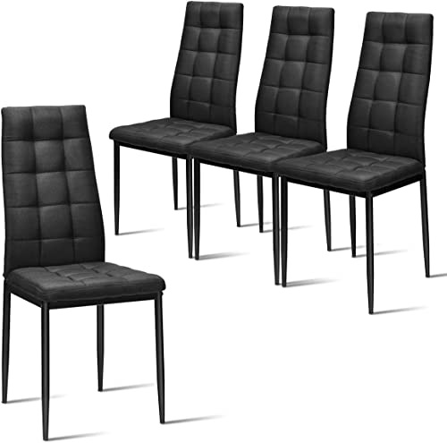 2021 Giantex Set of 4 Fabric Dining Chairs Set, with Upholstered Cushion high quality & High Back, Powder Coated Metal Legs, popular Checked Pattern Seats, Household Home Kitchen Living Room Bedroom (Black) outlet online sale