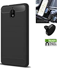 Phone Case Compatible for Nokia 2V (5.5) / 2.1 Case Textured Gel Cover with Magnetic Car Mount (Brush Flex Gel Black + Magnetic Car Mount)