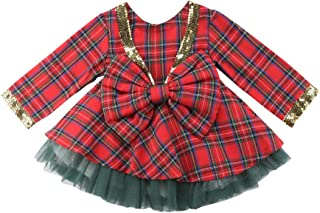 Christmas Toddler Baby Girl Dress Pageant Party Long Sleeve Plaid Bowknot Dresses Top+Tutu Skirts Outfits Clothes Set