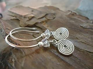 SPIRALE circolare e cristallo naturale - orecchini