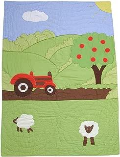 Powell Craft Baby Boys' Farmyard Crib Quilt.102cm X 75cm.green
