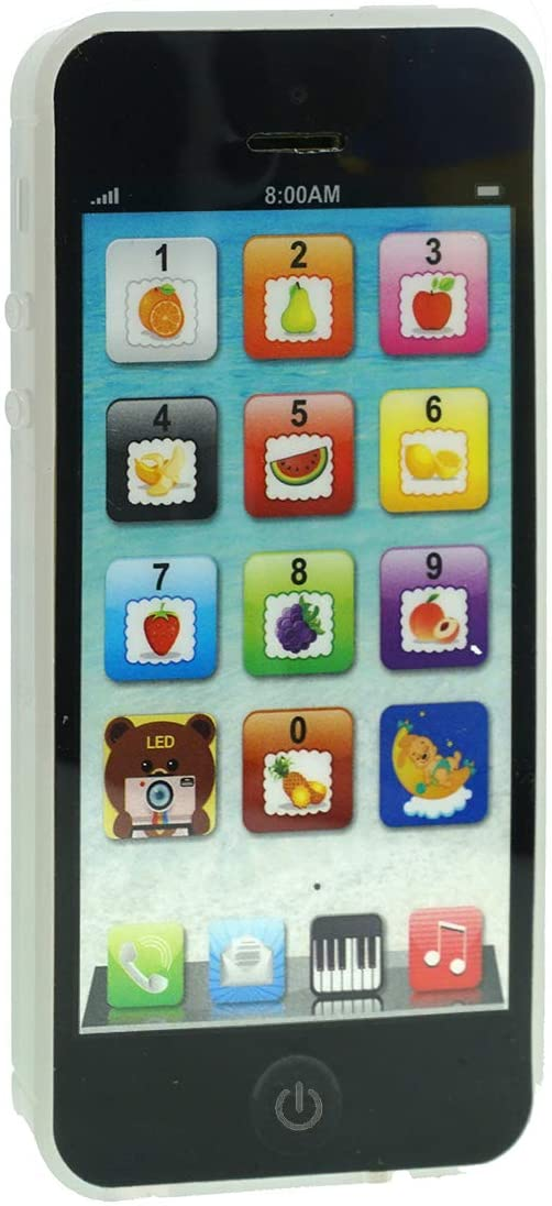 Cooplay Black Yphone Y-phone Phone Toy Play Music Learning English Educational Cell Phone Mobile Best Prize for Baby Kids Children