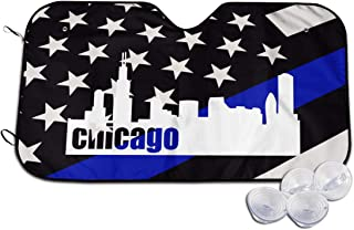 Chicago Drawing Skyline Car Windshield Sun Shade,Block The Sun Protects Interior Cool Universal for Cars SUV Truck Cute Funny