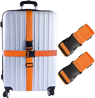 KABB HS-0087 2 PCS Suitcase Belts Travel Accessories Bag Luggage Straps, Multicolored, One Size, Orange, M