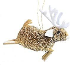 Holiday Lane Bristle Brush Buri Holiday Christmas Ornament, Reindeer with White Antlers