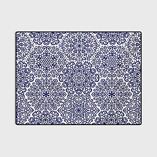Indigo Outdoor Rugs for patios Kitchen Rugs and mats Pattern Little Blooms with Hearts Russian Style Pattern Print Chair mats for Carpeted Floors Indigo and White 5 x 8 Ft