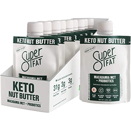 SuperFat Nut Butter Keto Snacks - Macadamia & Almond Nut Butter Fat Bomb Paleo Snack For Energy, Metabolism & Brain Function, Vegan, Gluten Free, Low Net Carb Box of 10 x 1.5 oz (MCT Probiotic)