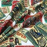 Kt KILOtela Tela de Patchwork - Estampación Digital - 100% algodón - Retal de 100 cm Largo x 140 cm Ancho | Postales Vintage Motos - Rojo, Verde ─ 0,50 Metro
