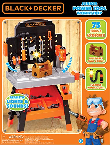 Black+Decker 81878 BLACK+DECKER Power Tool Workshop - Play Toy Workbench for Kids with Drill, Miter Saw and Working Flashlight - Build Your Own Tool Box – 75 Realistic Toy Tools and Accessories