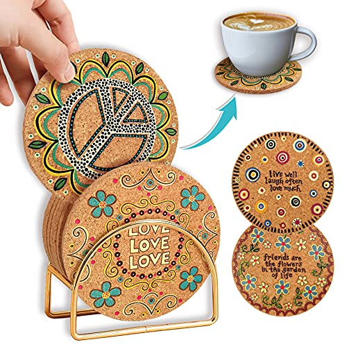 8 Pack Drink Coasters w  Holder, Cute Printed Cork Coasters Set, 4 Inch Heat-Resistant Non-Slip Cup Coasters for Prevent Tabletop Stains - Light & Easy to Clean, House Warming Gift Home Decor