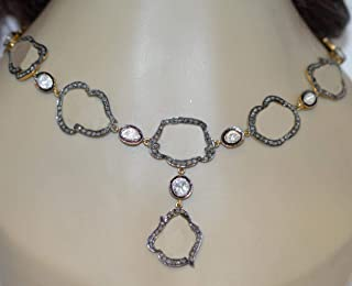 collar de diamantes sin cortar costozon establece 3.82 Tcw Rose Cut Diamond 925 Sterling Silver vintage antique jewelry