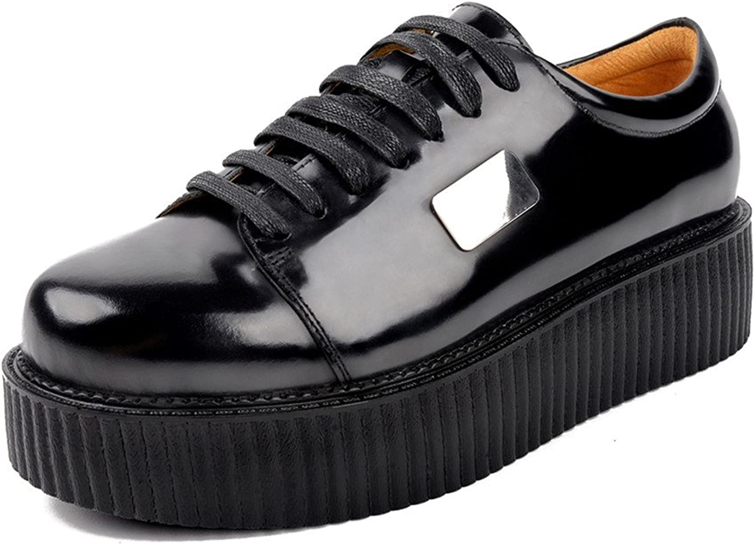 pinkG Men's Leather Oxfords Flat Platform Lace-up Punk Creepers shoes