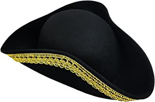 Tricorn Hat Pirate Hat- Colonial Or Revolutionary War Costume – Men Women & Youth Black