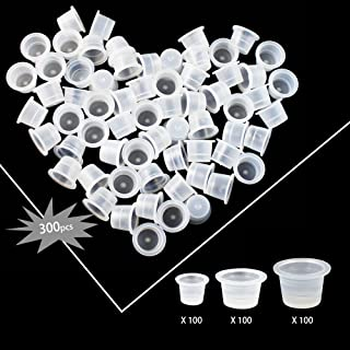 Wormhole 300pcs Tattoo Ink Caps for Tattooing Mixed Tattoo Ink Cups Disposable Pigment Cups #9 Small #13 Medium #16 Large