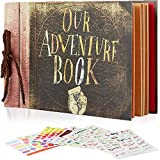 BoB Premium Photo Album Scrapbook, Nostalgic Our Adventure Book, DIY Handmade Baby Photo Album Book, Movie Up Travel Scrapbook for Wedding, Anniversary, Kids, Baby Shower, Travelling