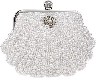 Santimon Tasche Hochzeit Damen Clutch Abendtasche Perlen Handtasche Abend Handtaschen Unterarmtasche Party Luxus