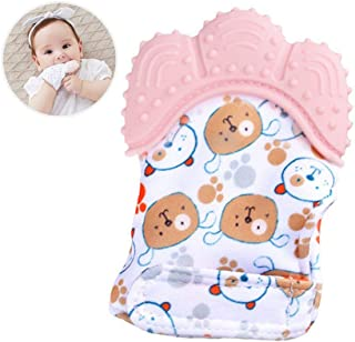 Baby Teething Mittens Self Soothing Pain Relief Mitt, Hamkaw BPA Free Stimulating Teether Toy with Adjustable Strap & Crinkle Sound, Hypoallergenic Silicone Teething Glove for Boys Girls, 0窶6 Month