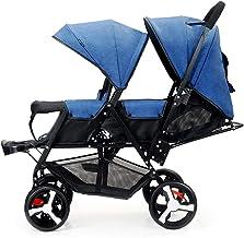 Saturey Cochecito Doble tándem Gemelos Cochecito para bebés Bebés, niños pequeños Silla de Paseo Paraguas Sistema de Cochecito Ligero y Plegable con Respaldo Ajustable Regalo para bebé,Blue1