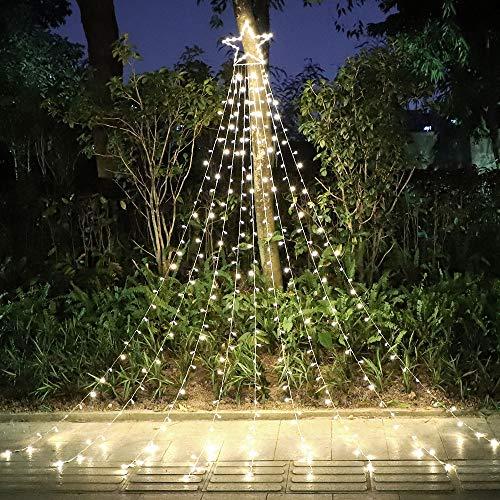 Okura Outdoor Christmas Decorations 320 LED Star Lights, 8 Memory Lighting Modes&Timer Christmas Star Lights with 14' Lighted Star for Yard,Festival,Wedding,Party,Christmas Decorations (Warm White)