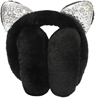 Sinwo Women Warm Girl Cartoon Cat Ears Design Earmuffs Adjustable Furry Ear Muffs Comfy Soft Snow Outdoor Winte