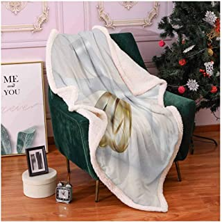 Wedding Cozy Blanket Pair of Wedding Rings with Ribbon Marriage Icon Realistic Celebration Photo Couch Throw Blanket White and Yellow 60