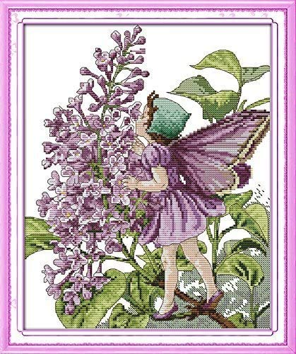 Happy Forever Cross Stitch Kits 11CT Stamped Patterns for Kids and Adults, DIY Preprinted Embroidery kit for Beginner, Fairy Tale (R467 Lilac Fairy, Size 13''x16'')