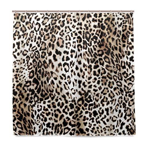 BALII Duschvorhang mit Leopardenmuster, 183 x 183 cm, Polyester, wasserdicht, mit 12 Haken für Badezimmer
