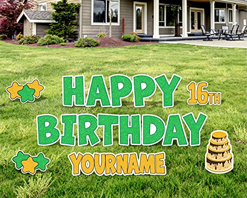 Glitter Happy Birthday Yard Sign, Happy Birthday Lawn Signs, Outdoor Lawn Decorations, Happy Birthday Lawn Ornaments, with H-Stakes, Multiple Custom Name Options, 13 Inch, HBD 18 Inch (Green Glitter)