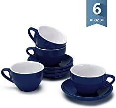 Sweese 403.103 Cappuccino Cup and Saucer Set, 6 Ounce Perfect for Specialty Coffee Drinks, Latte, Cafe Mocha and Tea, Set of 4, Navy
