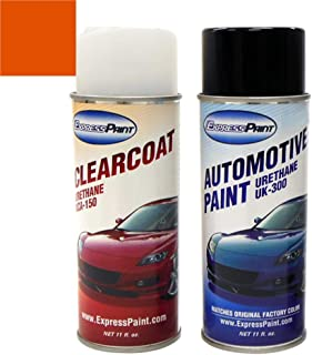 ExpressPaint Aerosol - Automotive Touch-up Paint for Ford Mustang - Competition Orange Clearcoat CY/M7117 - Color + Clearcoat Package