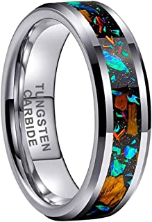 iTungsten 6mm 8mm Tungsten Rings for Men Women Wedding Bands Opal Tiger Eye Stone Inlay Beveled Edges Polished Comfort Fit
