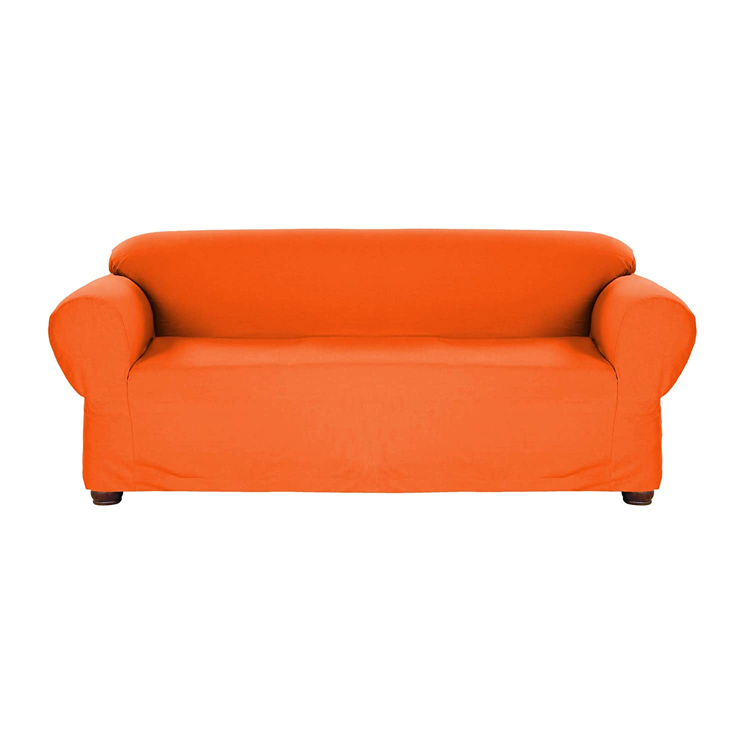 エアコン健康燃料(Sofa, Orange) - Linen Store Stretch Jersey Slipcover, Soft Form Fitting, Solid Colour (Sofa, Orange)