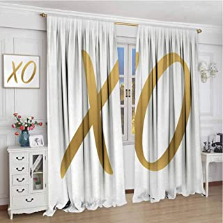 Window Curtain for Living Room W72 x L96 Inch,Decor Collection Thermal/Room Darkening Window Curtains,Xo,Love Affection Happy Joyful Good Friendship Romance Sign Letters Artistic Design,Gold and White