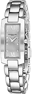 Shine Womens Rectangular Diamond Watch - Swiss Made Silver Face with Sapphire Crystal - Stainless Steel Band with Additional Black Satin Leather Band Rectangle Quartz Watch 1500-ST-00685