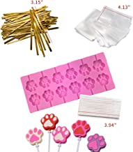 Akingshop 12 Capacity Cat Paw Silicone Lollipop Mold Set, Sucker Molds and Chocolate Hard Candy Mold with 50pcs Lollipop S...