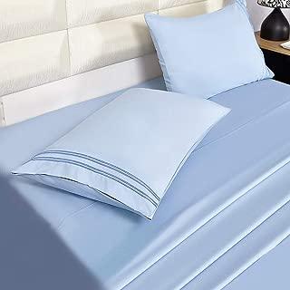 Eternal Moment 4 Piece Bedding Sheet Set, Microfiber Sheet Set - Light Blue, Full