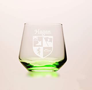 Hagan Irish Coat of Arms Green Tumbler Glasses - Set of 4 (Sand Etched)