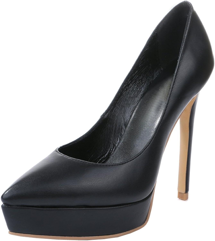 TDA Women's Pointed Toe Platform Sheepskin Evening Party Dress Sexy Stiletto shoes