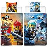 Ropa de cama reversible de franela de Lego City, con diseño de policía y bomberos, 135 x 200 cm + 80 x 80 cm, 100% algodón, servicio de emergencia 110