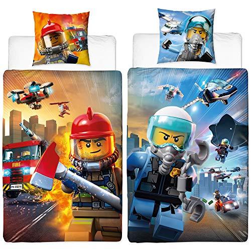Lego City Wende-Bettwäsche Biber Flanell Polizei & Feuerwehr 135 x 200 cm + 80 x 80 cm 100% Baumwolle Ambulanz Notdienst 110 Flugzeug undercover Kinderbettwäsche deutsche Größe Reißverschluss