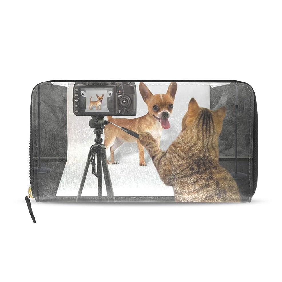 ピアノ重要感性AOMOKI 長財布 財布 ラウンドファスナー 北欧 ギフト プレゼント PU レザー 大容量 通学 通勤 旅行 幅20*丈11cm 犬柄 猫柄
