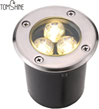 Tomshine 3W AC/DC 12V LED Underground Light Lamp 300LM High-power Tempered Glass Outdoor Ground Garden Path Floor Stair Yard Spot Landscape Lamp IP67 Water Resistant Warm White
