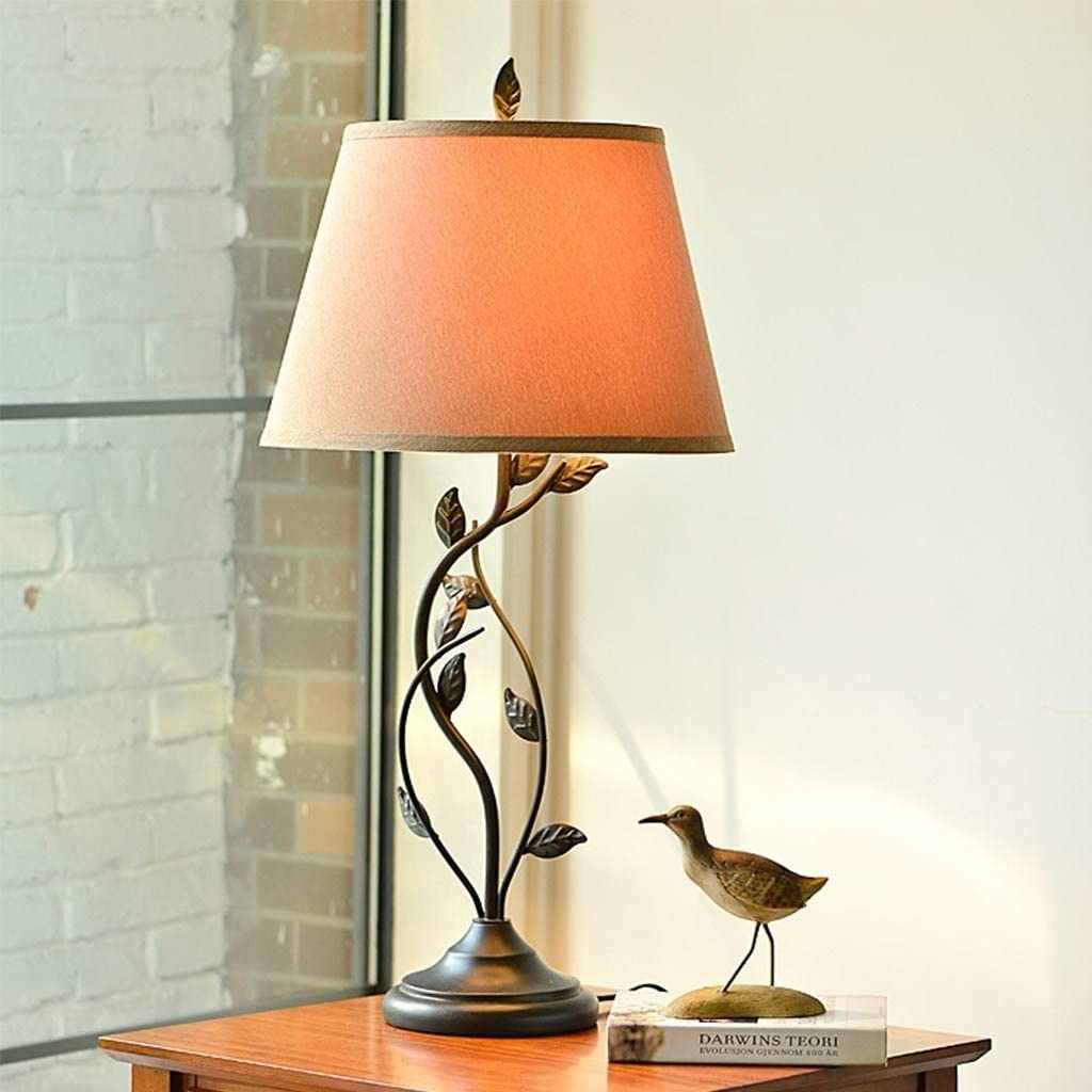 Kiollssx American Style Retro Iron Table Lamp quality assurance For Desk Branded goods Leaf