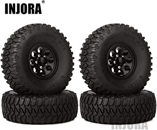 "INJORA 4Pcs 1.55"" Aluminum Wheel Tires 1.55 Inch Tyre for RC Crawler Car D90 TF2 Tamiya CC01 LC70 LC80 (Black)"
