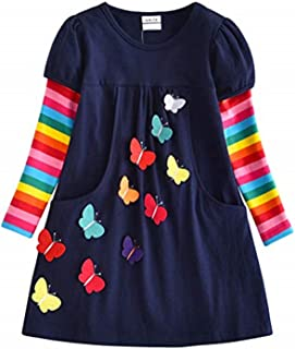 Baby Amabc Toddler Girl Casual Clothes Cotton Long Sleeve Dress Floral Print Shirt Winter Holiday Dresses for Kids 3-8 Years